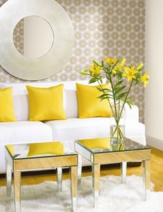 Mirrored furniture-Great way to add some glamour to any space ~interior-design-yellow-living-room-decor Yellow Home Decor, Yellow Interior, Interior Colors, Home Decor Bedroom, Living Room Decor, Bedroom Sets, Bedroom Apartment, Living Rooms, Power Wallpaper