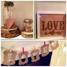 Vday decor. Banner cut outs with my silhouette, covered clothespins, hand-cut hearts.