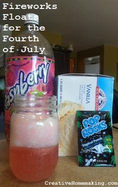 These ice cream floats are fun for the Fourth of July or any time. Sprinkle Pop Rocks on top and watch the fireworks!