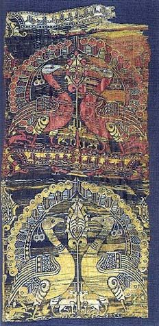 """12th century Spanish silk brocade -- click on the """"contents"""" link in the upper left corner for a lot more information / patterns / pretties to look at"""