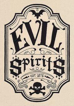 Evil Spirits Apothecary Label UT6978    |   Stitch this spooky, old-fashioned label onto tea towels, totes, placemats, and more!