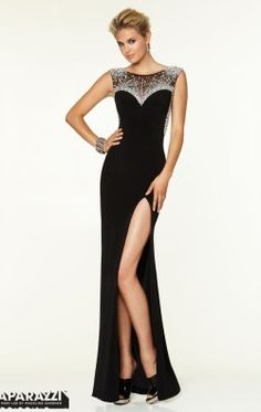 Crystal Beaded Jersey Gown by Paparazzi by Mori Lee 97128