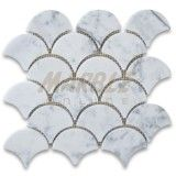 Carrara White Grand Fish Scale Fan Shaped Mosaic Tile Honed