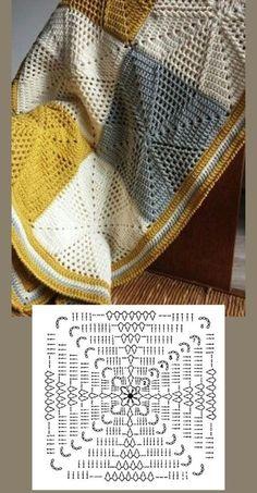 Crochet Bedspread Pattern, Crochet Motifs, Crochet Quilt, Granny Square Crochet Pattern, Crochet Diagram, Crochet Stitches Patterns, Crochet Chart, Crochet Squares, Filet Crochet