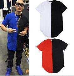 2016 HIPHOP style t shirt black t-shirt patch hiphop tees korea hot sale rock…