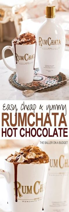 This Adult Hot Cocoa recipe is perfect for the holiday season: All you need is milk, hot cocoa mix, and Rumchata. Top with whipped cream and a chocolate sauce drizzle. Click through for the full recipe: THE BALLER ON A BUDGET (Christmas Drinks Rumchata) Hot Cocoa Recipe, Cocoa Recipes, Hot Chocolate Recipes, Chocolate Party, Spiked Hot Chocolate, Chocolate Smoothies, Chocolate Shakeology, Christmas Drinks, Holiday Drinks