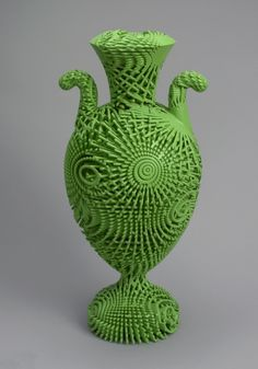 Tall Green Bloom urn, England, 2012; Designed by Michael Eden (English, b. 1955); 3-D printed Nylon; 41 x 18 cm (16 1/8 x 7 1/16 in.); Museum purchase through gift of Elizabeth and Lee Ainslie and from General Acquisitions Endowment Fund, 2013-53-1; Cooper Hewitt, Smithsonian Design Museum; Photo by Ellen McDermott © Smithsonian Institution