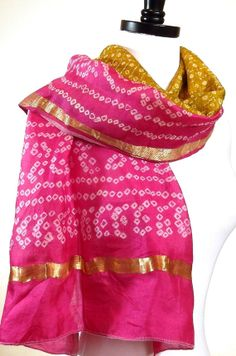 Tribal scarf, pop of color, accent scarf, pink silk scarf, silk sari scarves