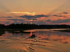 Sunset Ripples (clouds sunrise+sunset Summer boats sky trees water ). Photo by Biskitten