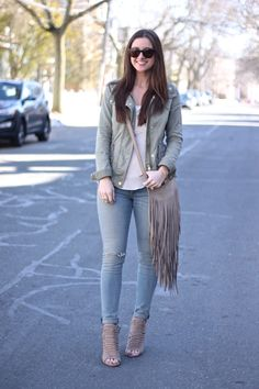 Taupe Fringe Bag and Woven Wedges