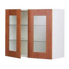 AKURUM Wall Cabinet With 2 Glass Doors, Ädel Medium Brown, White Width: 35