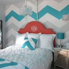 Chevron Four Wall Mural The HOT TREND is Chevron Stripes for that contemporary look. In our example of the mural we feature FOUR stripes in a turquoise to match the bedding, but it's up to YOU to choo #BeddingIdeasForTeenGirls