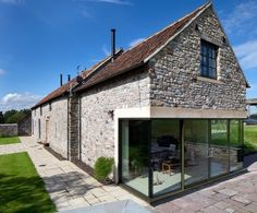 Barn Conversion, Gloucestershire transitional-exterior by Yiangou Architects Transitional Home Decor, Transitional Lighting, Transitional Living Rooms, Transitional Kitchen, Farmhouse Architecture, Contemporary Architecture, Genius Ideas, Entryway Stairs, Barn Kitchen