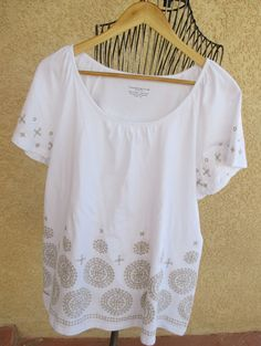Charter Club Top 2X Short Sleeves 100% Cotton T Blouse Gold Embroidery Plus New  #CharterClub #Blouse #Career