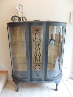 Painted Glass Cabinet, Annie Sloan Graphite. Home Decor  ©OliviaRoseInteriors