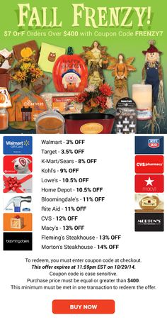 Fall Frenzy: $7 OFF + Target 3.5% OFF, Kohl's 9% OFF, Rite Aid 11% OFF & More