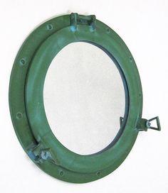 "CaptJimsCargo - Large Aluminum Green Finish 17"" Ships Porthole Mirror Round, (http://www.captjimscargo.com/porthole-mirrors-windows/ships-porthole-mirrors/large-aluminum-green-finish-17-ships-porthole-mirror-round/)"