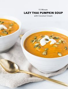 LAZY THAI GINGER PUMPKIN SOUP WITH COCONUT CREAM | Vegan + Paleo + Gluten Free | A delicious and simple recipe for a seasonal soup using canned pumpkin! While this recipe is super quick to prepare and has few ingredients, it's full of warming fall flavors—ginger, garlic, and curry. A drizzle of coconut milk and a few pumpkin seeds on top make it oh-so pretty. | Click to get the recipe! | Honestly Nourished | www.honestlynourished.com
