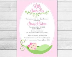 Little sweet pea baby shower invitation  girl baby by 2birdstudios