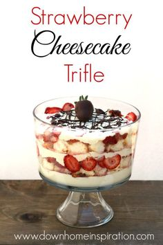 A strawberry cheesecake trifle that is an unbelievable flavor combo of cheesecake filling, angel food cake and sugary strawberries.