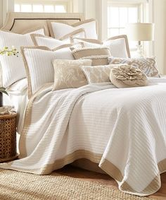 Fall into sweet dreams with this light cotton quilt set boasting neutral hues to blend with current décor. #afflink
