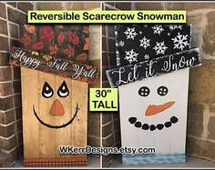 """Ready to Ship! 30"""" Tall Reversible Scarecrow Snowman Porch Sign, Reversible Fall Winter Porch Sign, Snowman Porch Decor, Winter Porch Decor"""