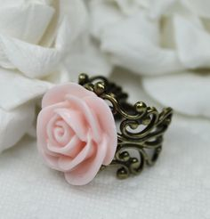 somewonderland:    ROSE ANTIQUED BRASS FILAGREE RING @ ETSY.