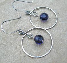 Purple Sterling Silver Hoop Earrings