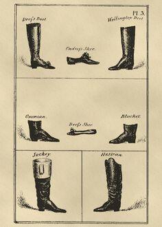 Wellington Boot style for Petruccio and Baptista Possible Blucher for Grumio Georgian-era boot styles. 1800s Fashion, 19th Century Fashion, Vintage Fashion, Mens Fashion, Medieval Fashion, Steampunk Fashion, Gothic Fashion, 18th Century, Fashion Trends