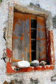 Decayed window, Santorini Island