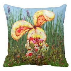 #cute - #ADORABLE BUNNY IN GRASS FIELD DECORATIVE PILLOW