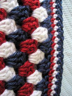 Crochet baby blanket red white blue granny by ArrayOfCrochet