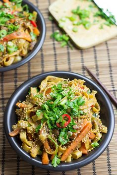 Fiery Dragon Noodles by hurrythefoodup #Noodles #Vegetarian #Asian