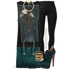 A fashion look from October 2014 featuring AllSaints tops, J Brand jeans and Alaïa ankle booties. Browse and shop related looks.