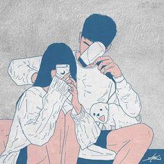 Cute Couple Drawings, Bff Drawings, Cute Couple Art, Couple Illustration, Illustration Art, Couple Cartoon, Dope Art, Korean Artist, Cute Anime Couples