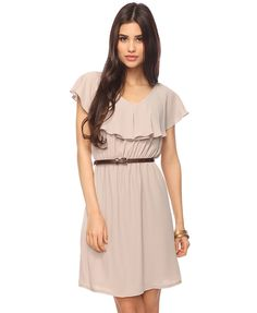 Tiered Bodice Dress w/Belt: A chic woven dress with a scoop neckline, cap sleeves, and tiered bodice. Elasticized waist. A-line skirt. Comes with a skinny faux leather belt. Lightweight. Partially lined.  $24.80