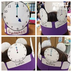 FREE Clock crowns and lots of other fun and engaging activities to practice telling time to the nearest five minutes Telling Time Activities, First Grade Activities, Kindergarten Activities, Teaching Clock, Teaching Time, Teaching Math, Teaching Ideas, Second Grade Freebies, Second Grade Math