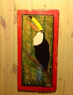 Tucan Painting 32 x 16 beach home accent colorful by oceanarts10