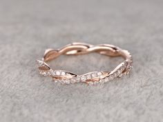 Curved Diamond Wedding Ring Solid 14K Rose gold Art Deco Style Unique Twisted Stackable Ring - BBBGEM