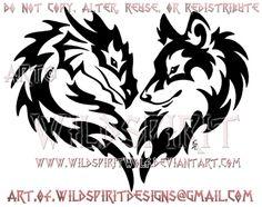 Tribal Dragon And Wolf Heart Design by WildSpiritWolf on @DeviantArt