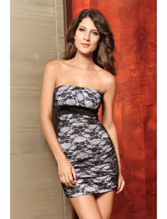 Elegant Lace Mini Dress with Bandeau-style.a dress with a fabulous floral print and lace all over.| Club Dresses | Clubwear | StringsAndMe