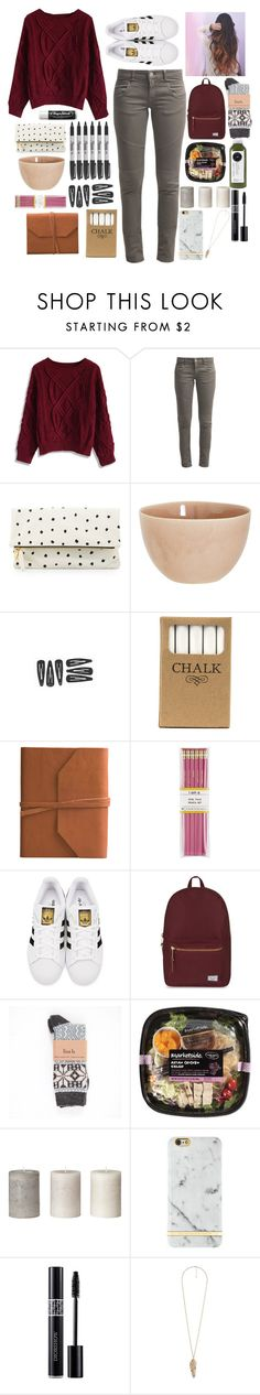 """School: Casual"" by hakay ❤ liked on Polyvore featuring Sharpie, Chicwish, Best Mountain, Clare V., Chapstick, atelier tete, Jayson Home, Eccolo, i am a and adidas Originals"