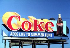 Outdoor advertisement Summer Fun with Coke hoarding back in 1980's #OOH #advertising