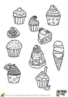 Triple cornet de glace accompagné de petits gâteaux, à servir et à colorier