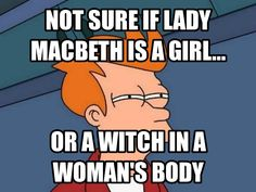 The picture shows how Lady Macbeth (a noble lady) is acting like a witch.