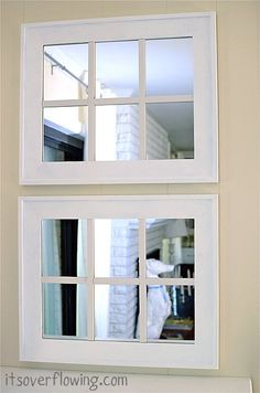 Simple DIY: Creating a Window-Pane Mirror.  Have a dark room, need more natural light?  I even saw this on the front of a garage wall with a planter box, to give the illusion of a window.  Looks fantastic! Would be great in a bathroom or a dining room wall.