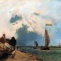 L Arrivee Au Port by Johan Barthold Jongkind. Handmade oil painting reproductions for sale, Always custom made on premium grade canvas by talented artists. Monet, Oil Painting Reproductions, Old Master, Artwork, Old Things, Clouds, Sky, Landscape, Johan