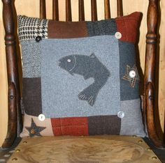 Wool Fish Pillow Cabin Accent Upcycled Wool Appliqued Lodge Decor by Northernlodge. $30.00, via Etsy.