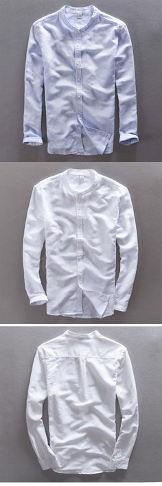70% Linen 30% Cotton White Casual Shirt Men Stand Collar Long Sleeve Slim Fit Brand Men Shirt Fashion Camisa masculina Homme