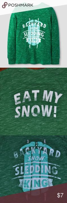 CAT & JACK Boys L/S Sledding King Graphic T-Shirt Boys' Long Sleeve Sledding King Graphic T-Shirt Green - Cat & Jack  size M (8/10) condition: gently used color: green  More kid's clothes in my posh closet @cjrose25. Bundle your likes for a discount & save on shipping!! Cat & Jack Shirts & Tops Tees - Long Sleeve